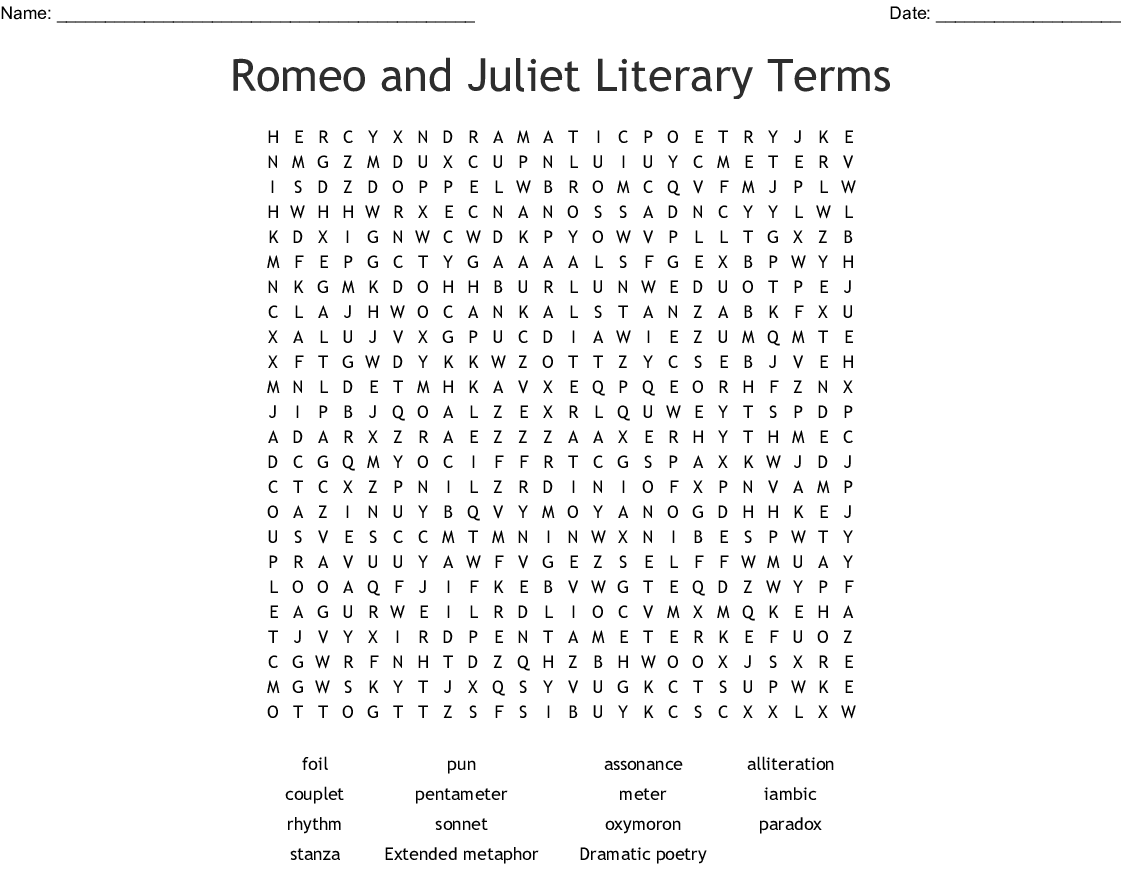 Romeo Amp Juliet Lit Terms Vocabulary Word Search