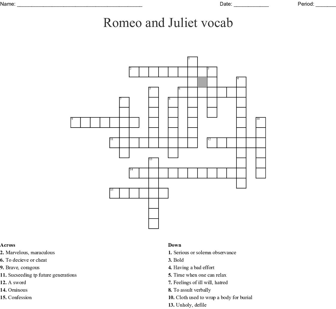 Romeo And Juliet Vocabulary Crossword