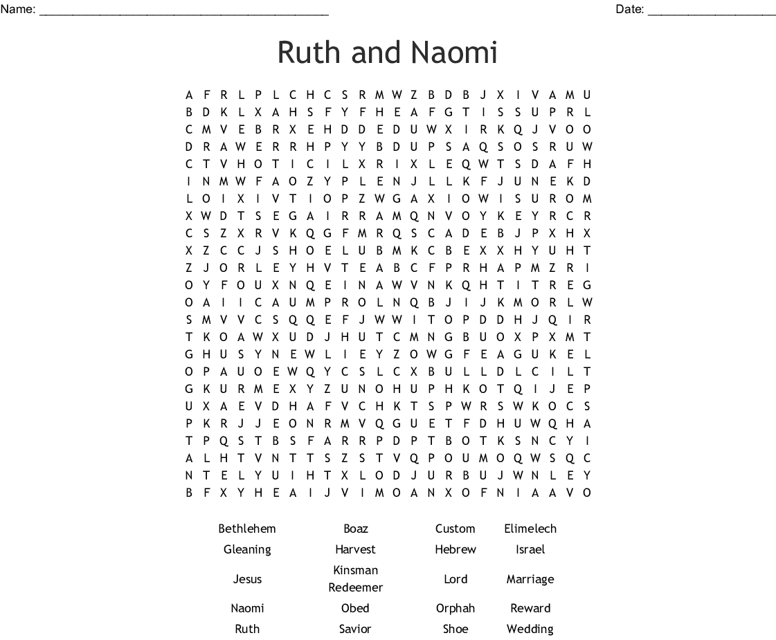 Ruth And Naomi Crossword