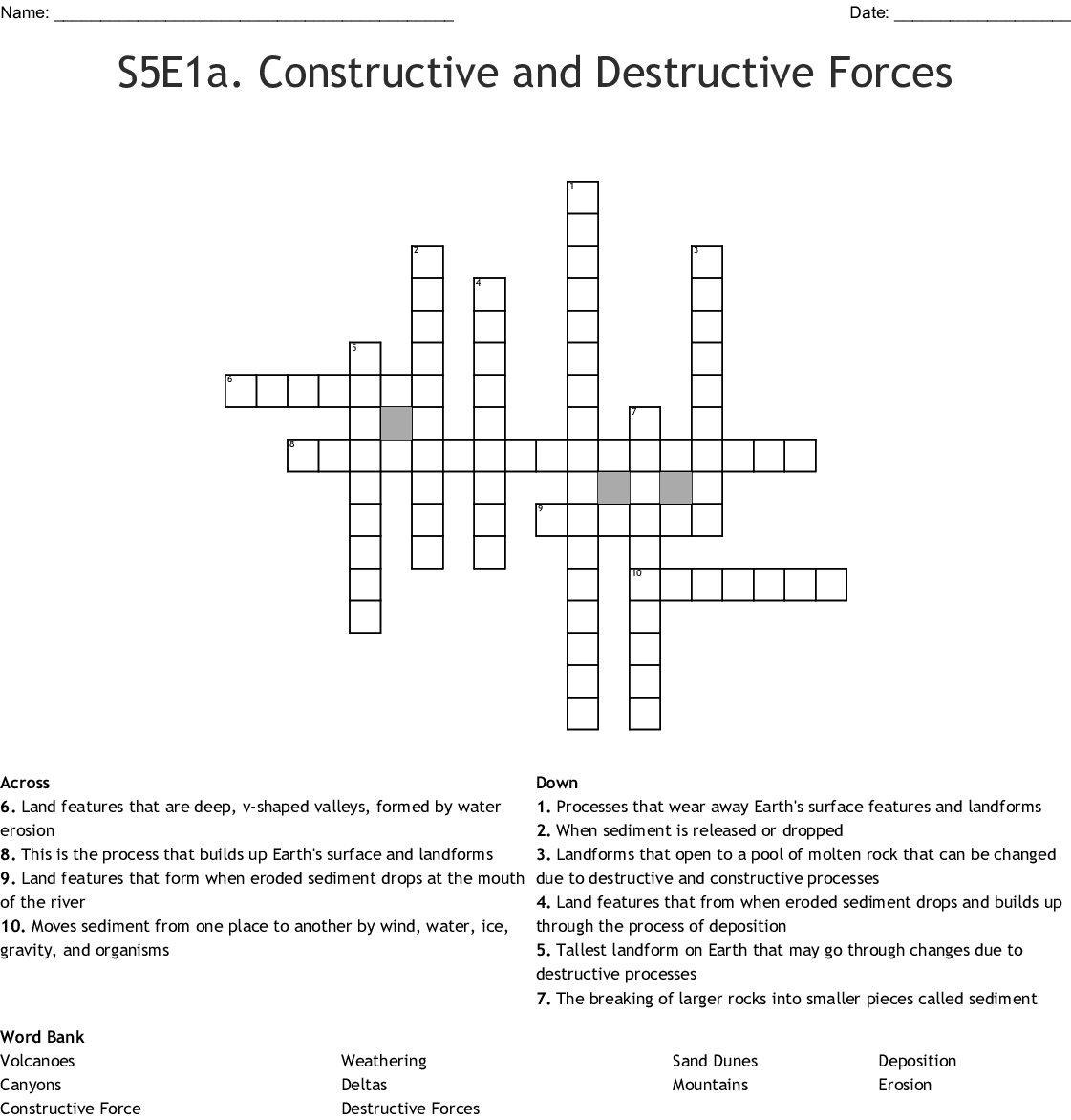 S5e1a Constructive And Destructive Forces Crossword