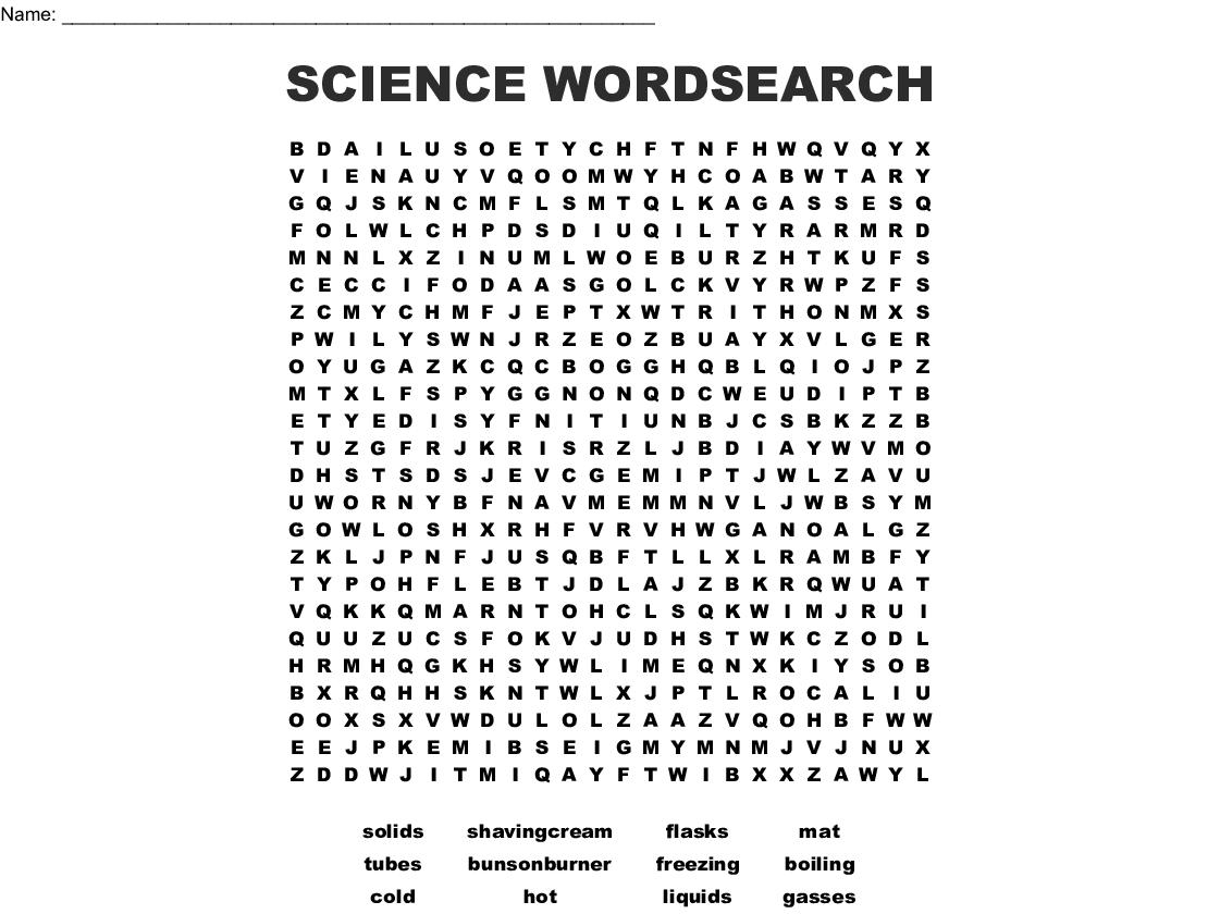 Science Wordsearch
