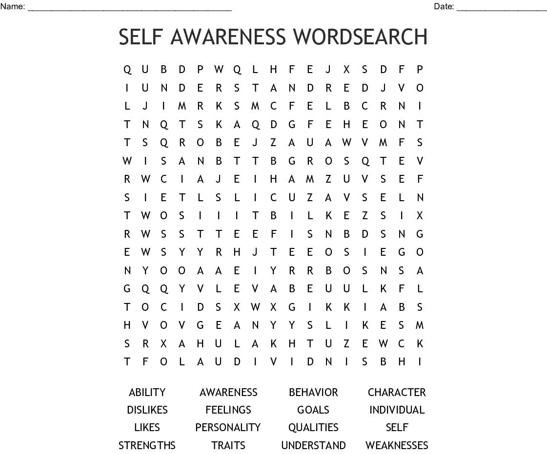 Self Awareness Wordsearch