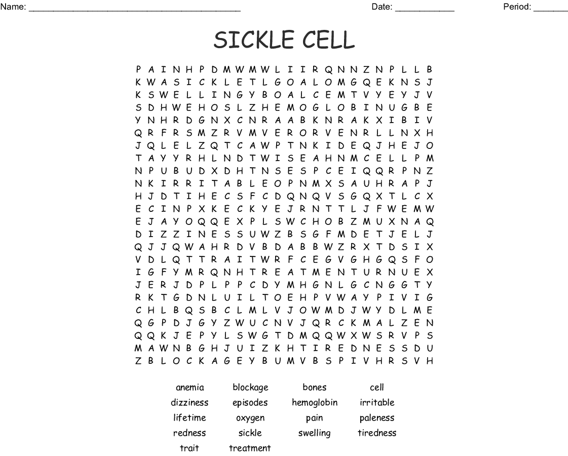 Sickle Cell Word Search