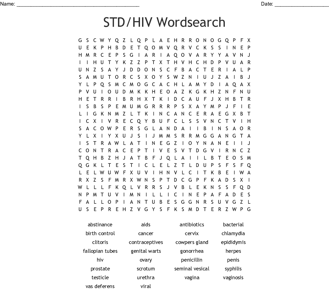 Std Hiv Wordsearch