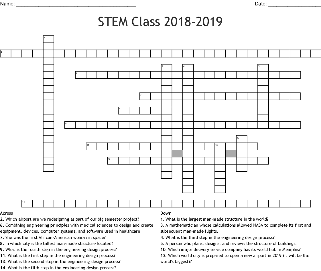 Stem Class Crossword