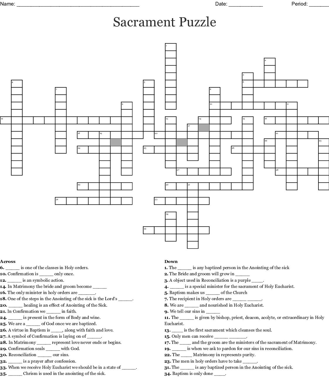 The Seven Sacraments Crossword
