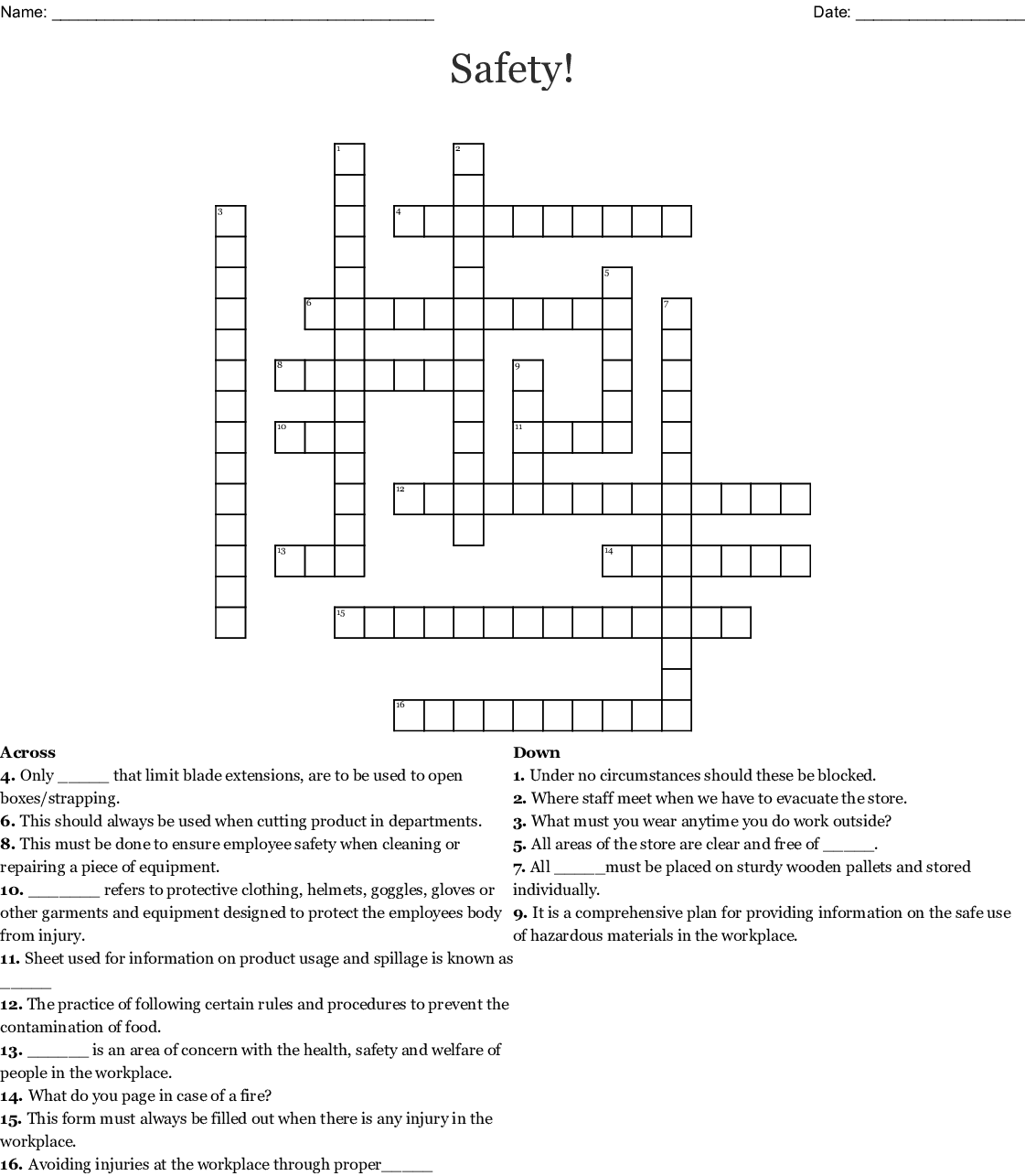 Safety Crossword