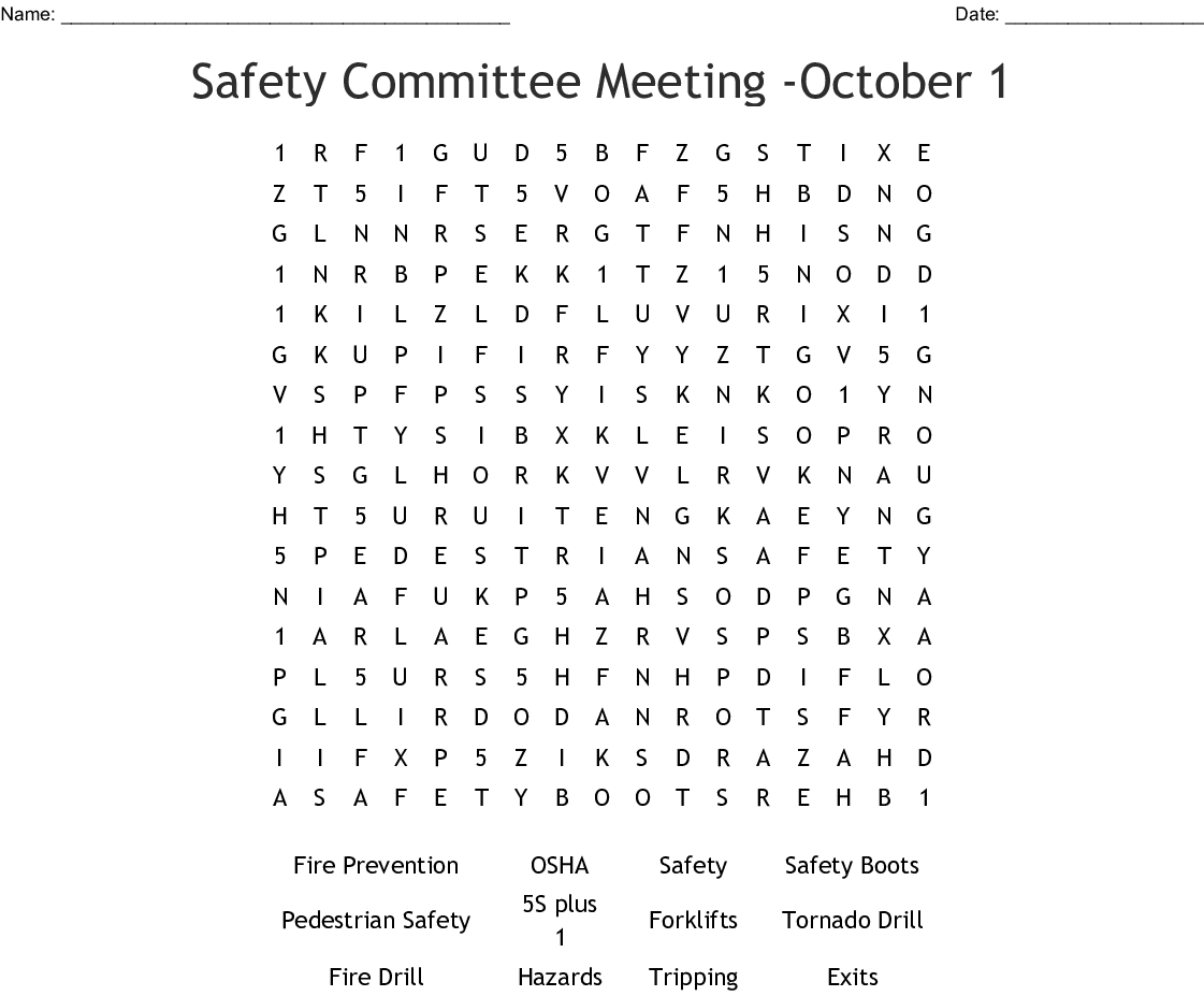 Occupational Health Amp Safety Crosswords Word Searches