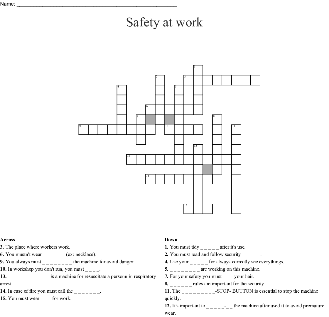 Safety At Work Crossword