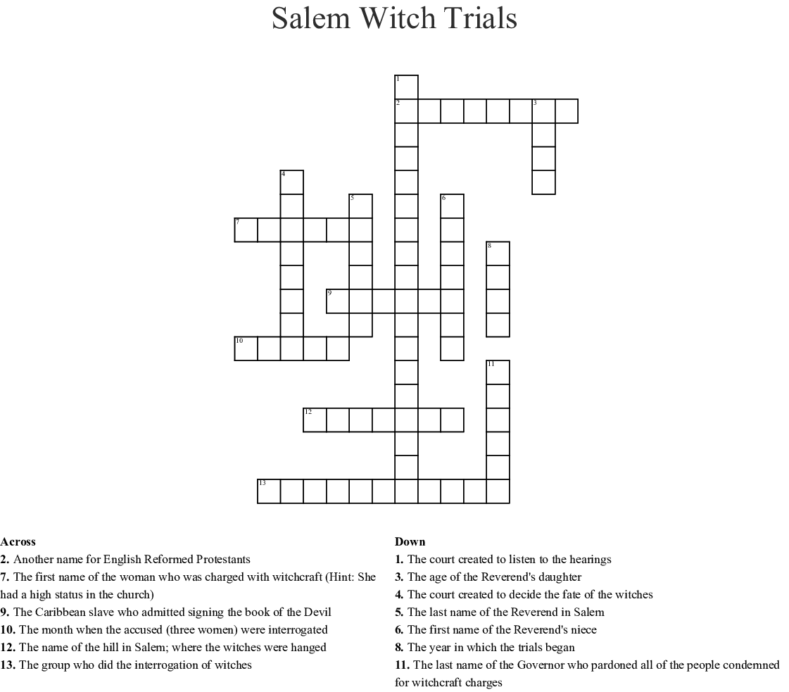 Salem Witch Trials Worksheet