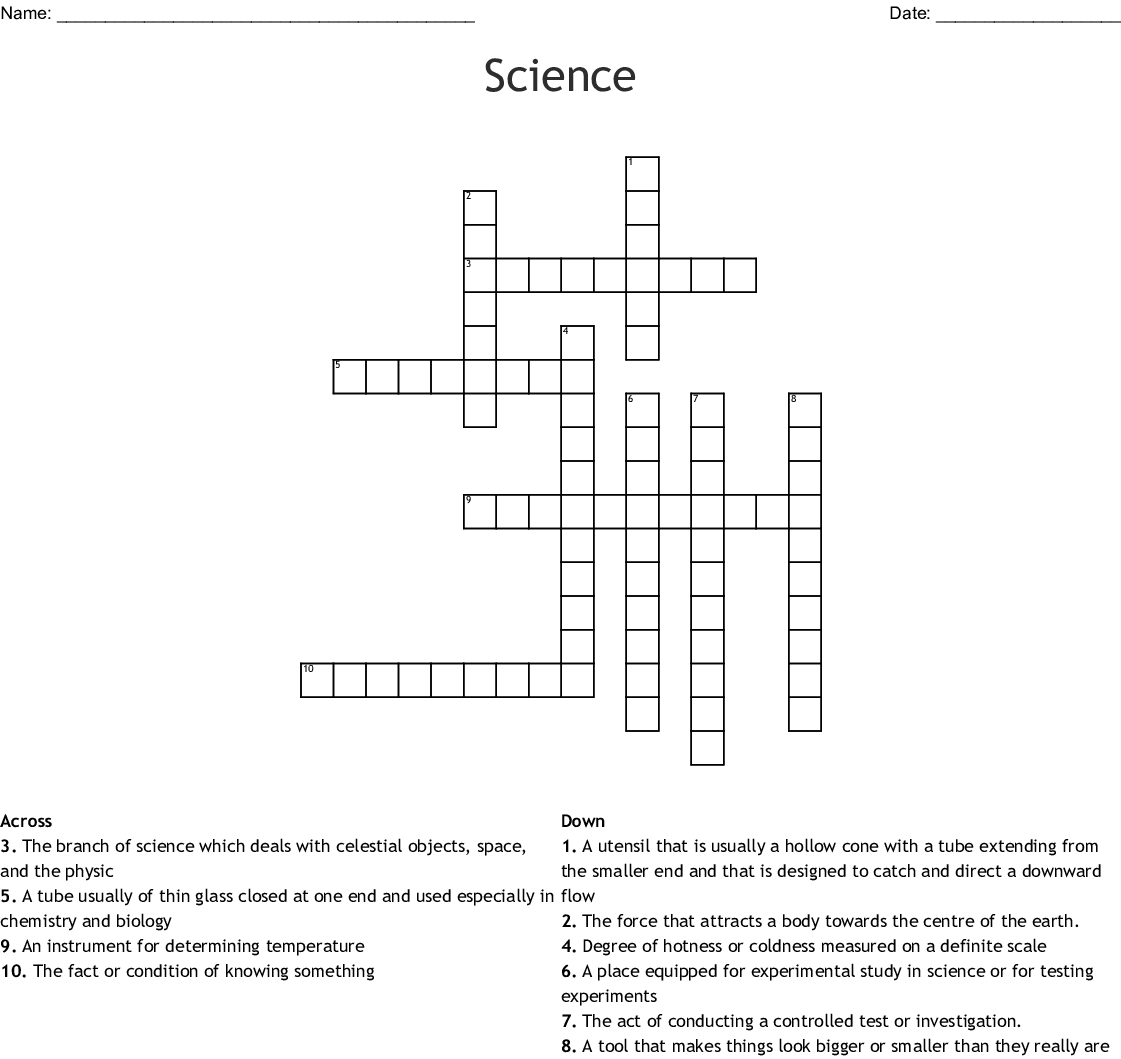Science Crossword