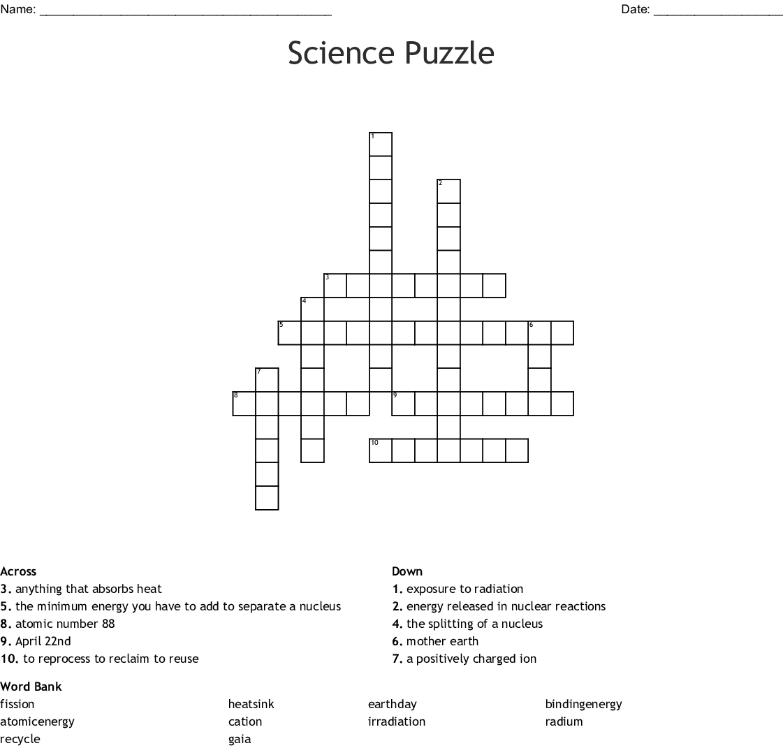 Science Puzzle Crossword