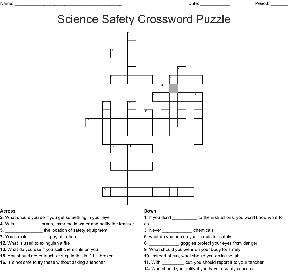 Science Safety Crossword Puzzle
