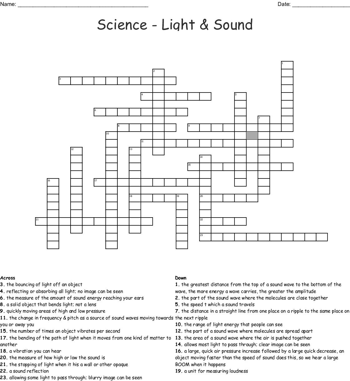 Light And Sound Worksheets For Grade 4