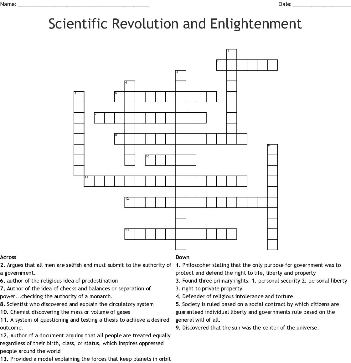 Scientific Revolution And Enlightenment Crossword
