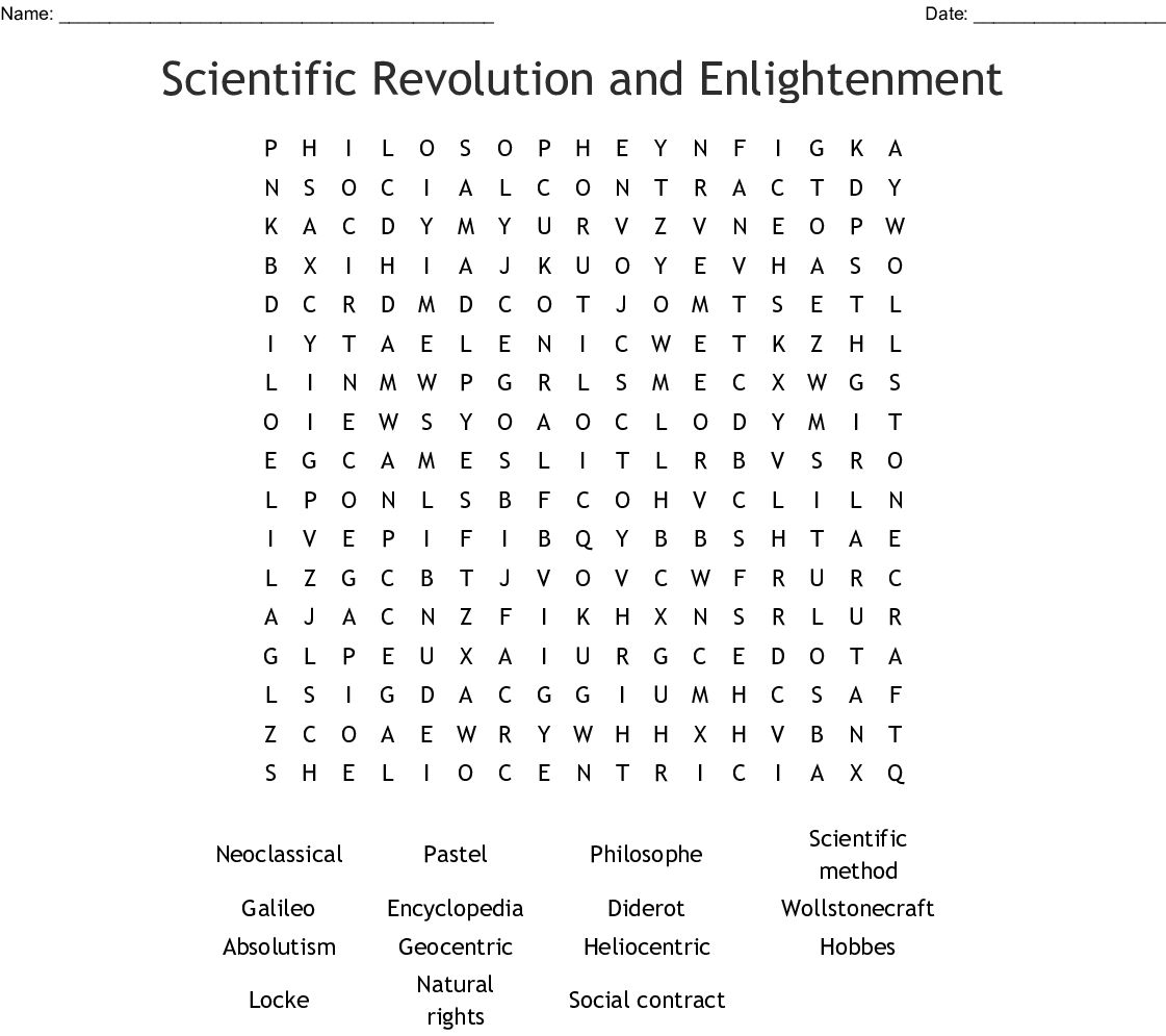 Scientific Revolution And Enlightenment Word Search