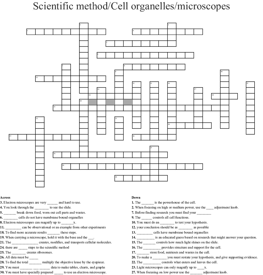 Compound Microscope Crossword Puzzle