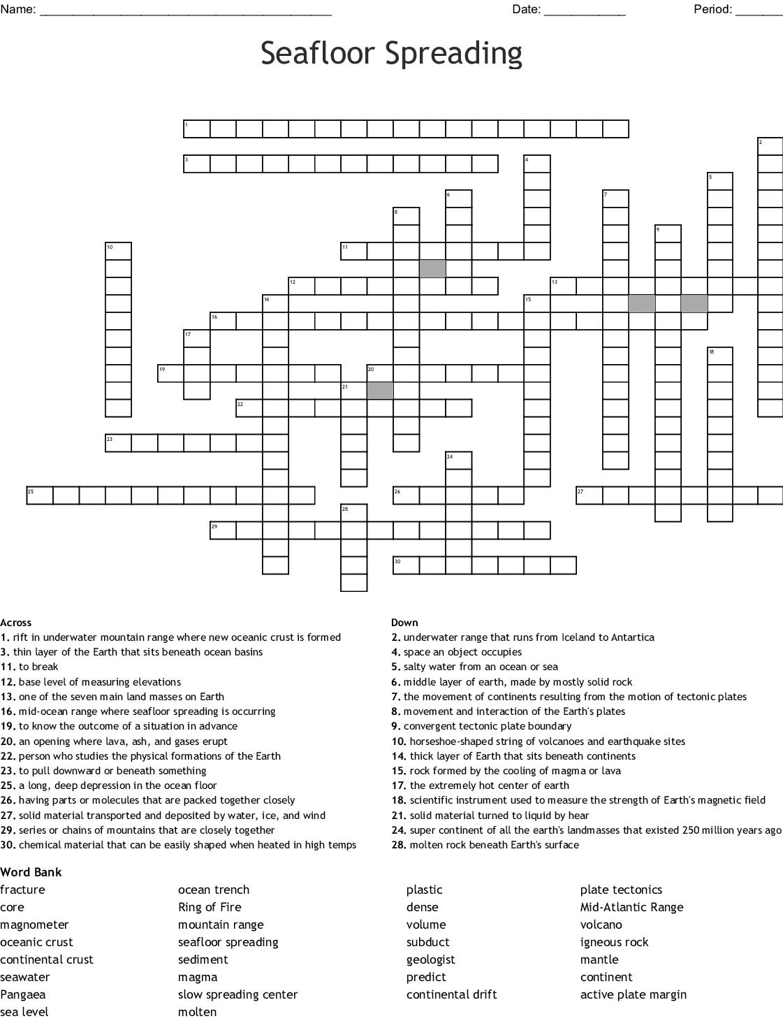 Seafloor Spreading Crossword