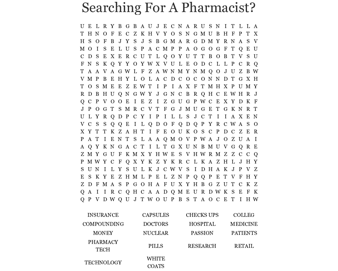 Similar To Pharmacy Week Puzzle Crossword