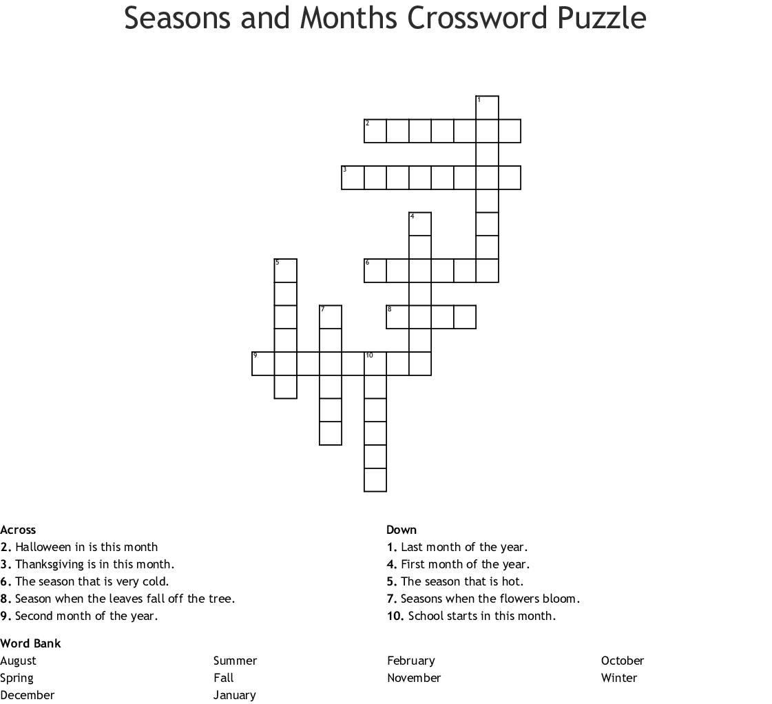Seasons And Months Crossword Puzzle Crossword