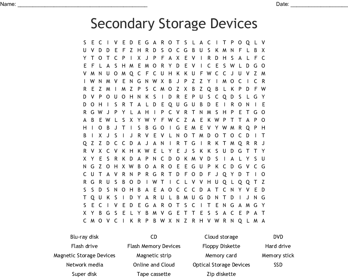 Computer Drives Amp Storage Crosswords Word Searches Bingo