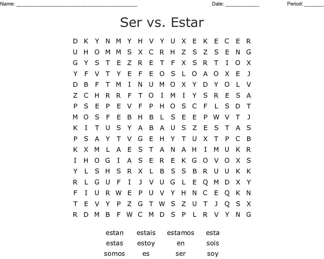 Ser Vs Estar Word Search