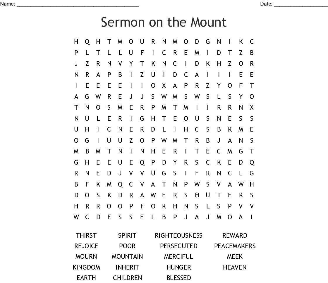 Beatitudes Word Search