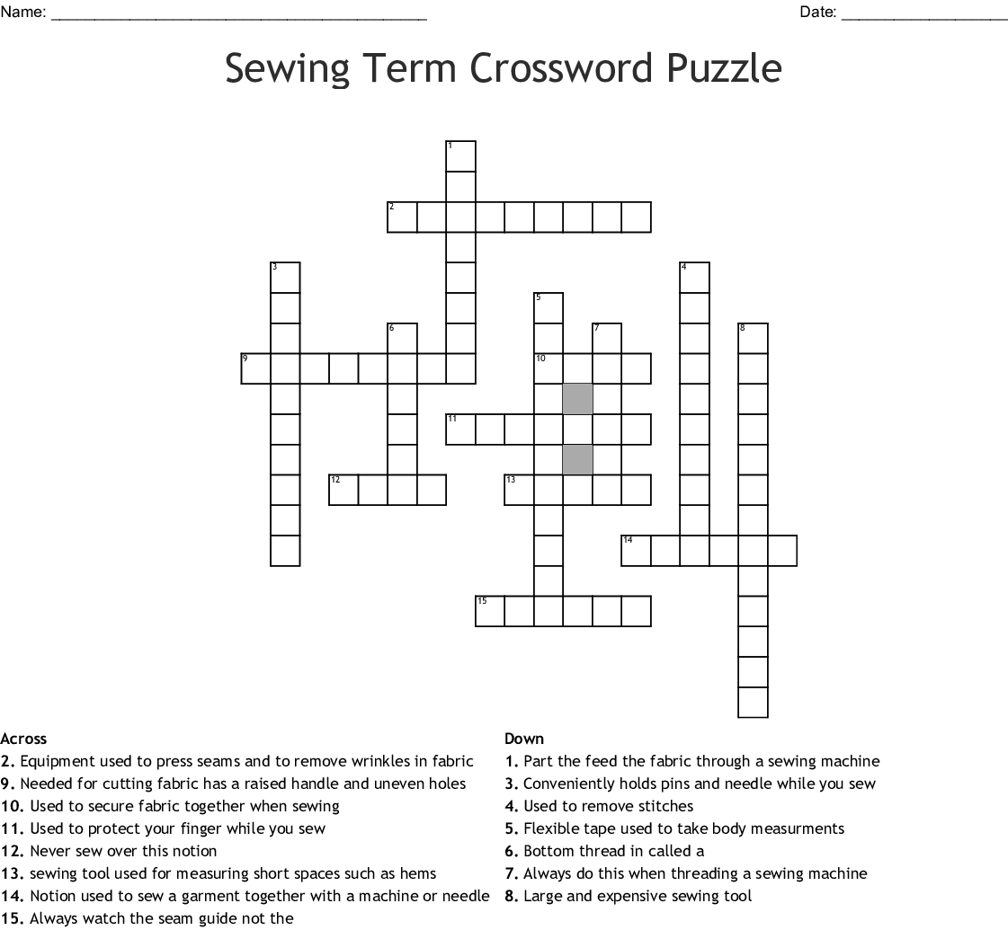 Hand Sewing Crossword Puzzle Answers