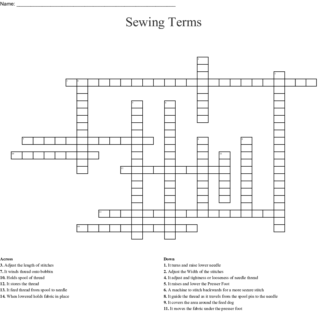 Sewing Machine Parts Crossword Puzzle Answers