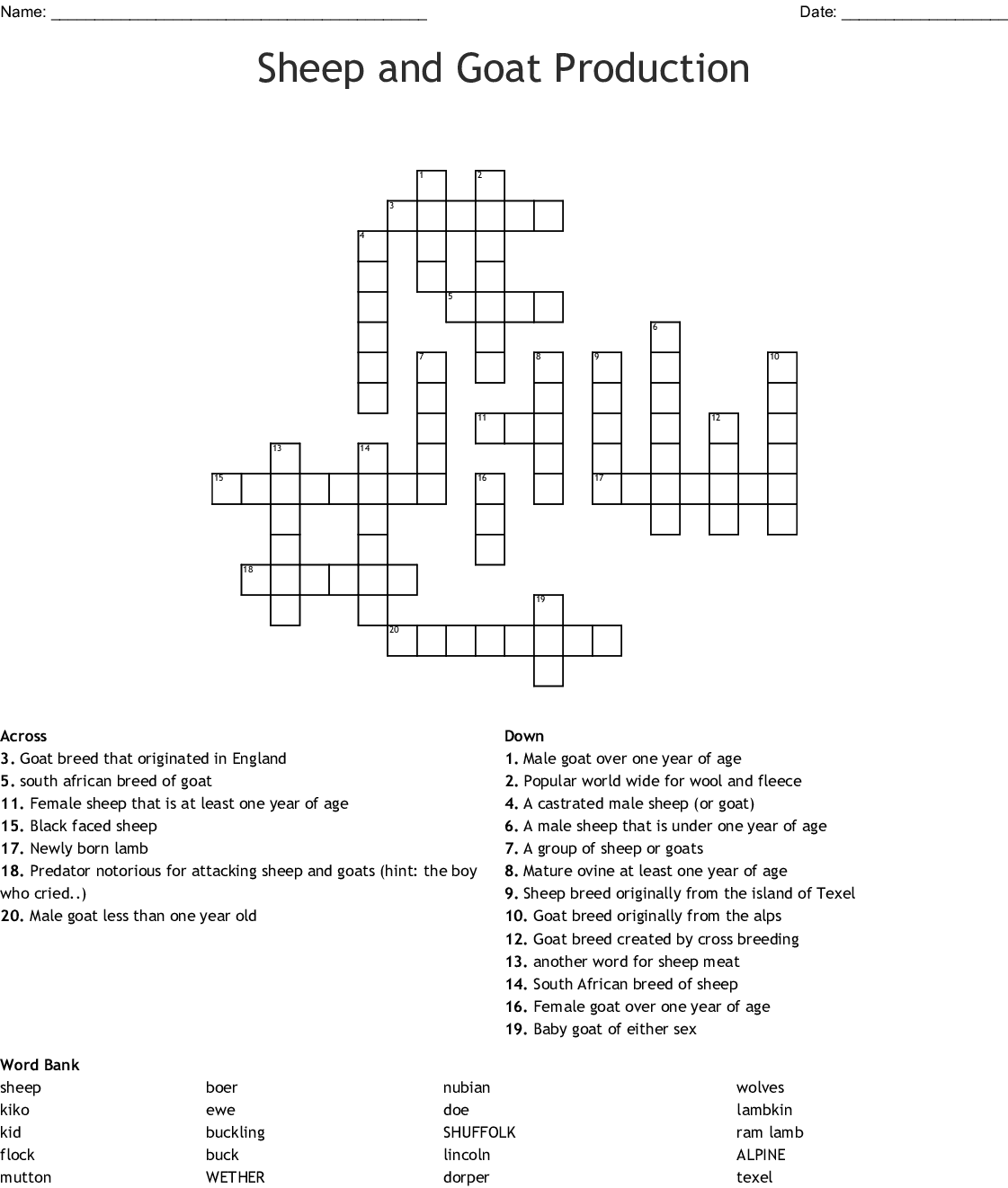 Goat Production Word Search