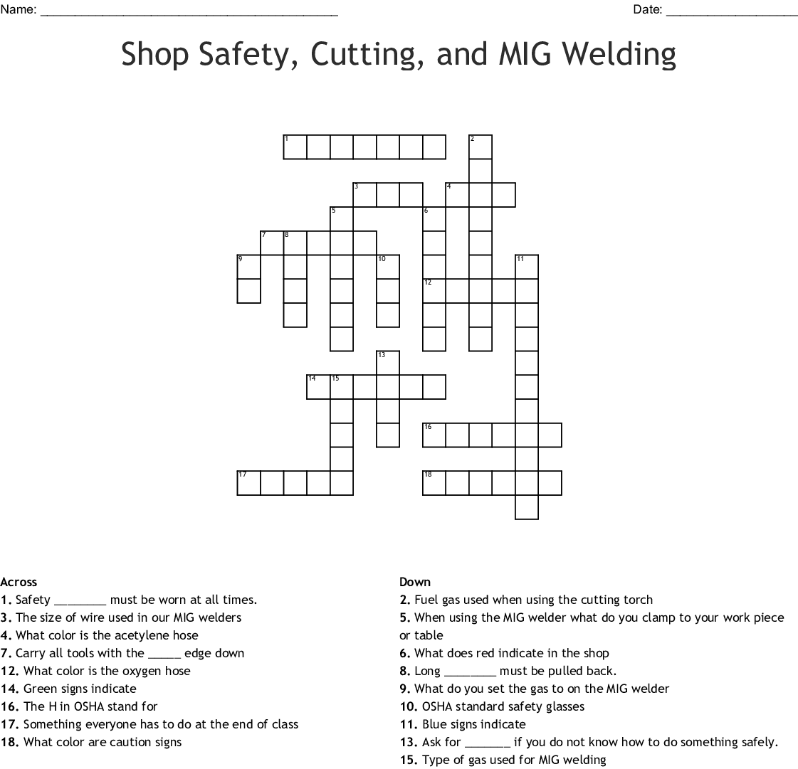 Welding Shop Safety Student Worksheet