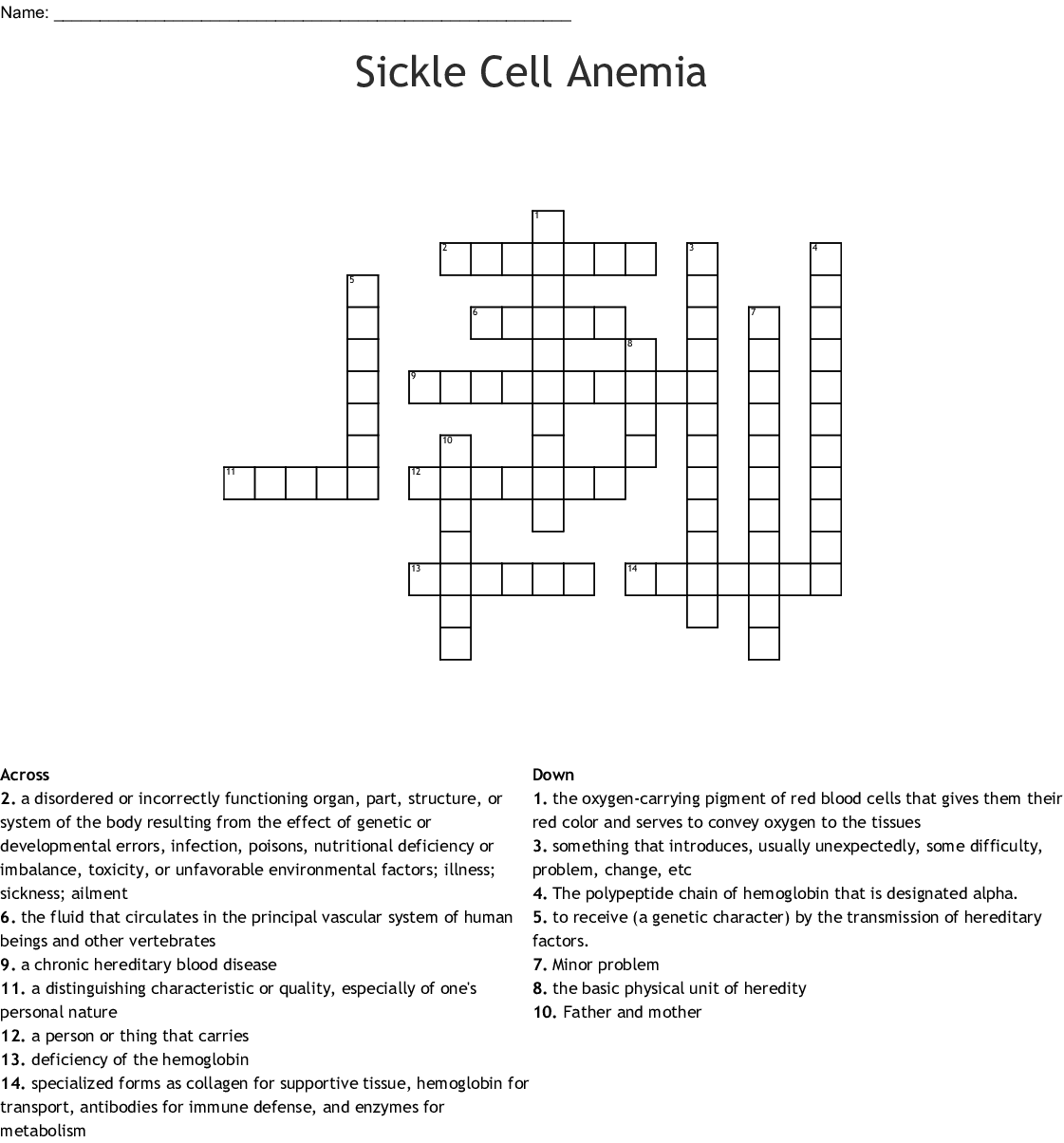 Sickle Cell Anemia Crossword