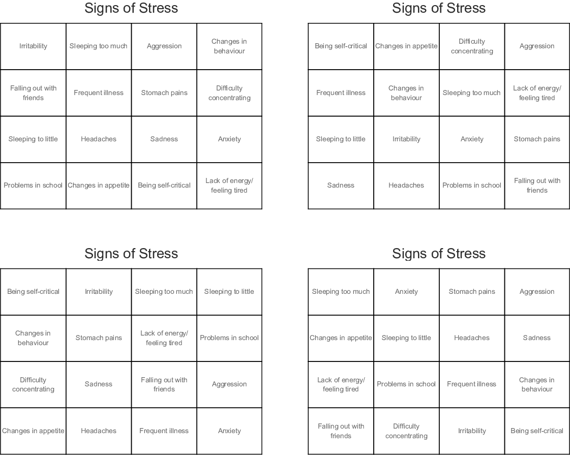 Anxiety Amp Stress Crosswords Word Searches Bingo Cards