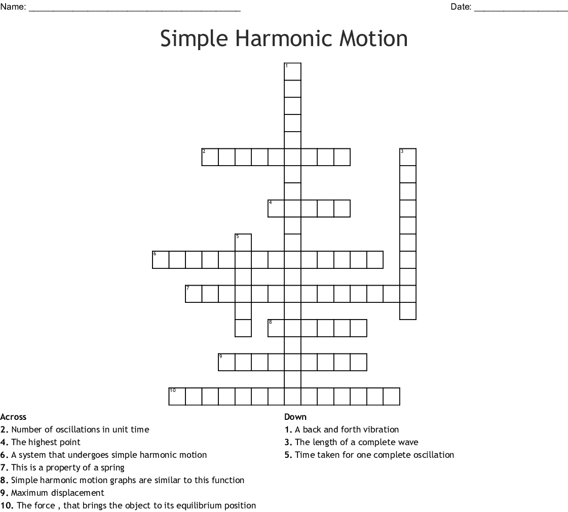 Simple Harmonic Motion Worksheet Answers