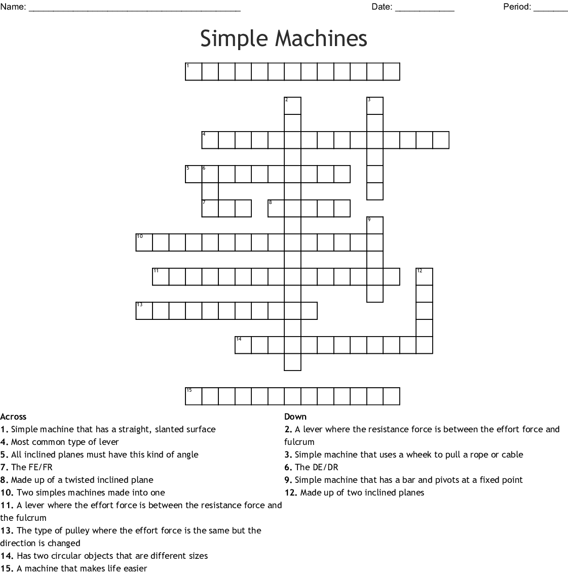 Simple Machines Crossword Puzzle Worksheet Answers
