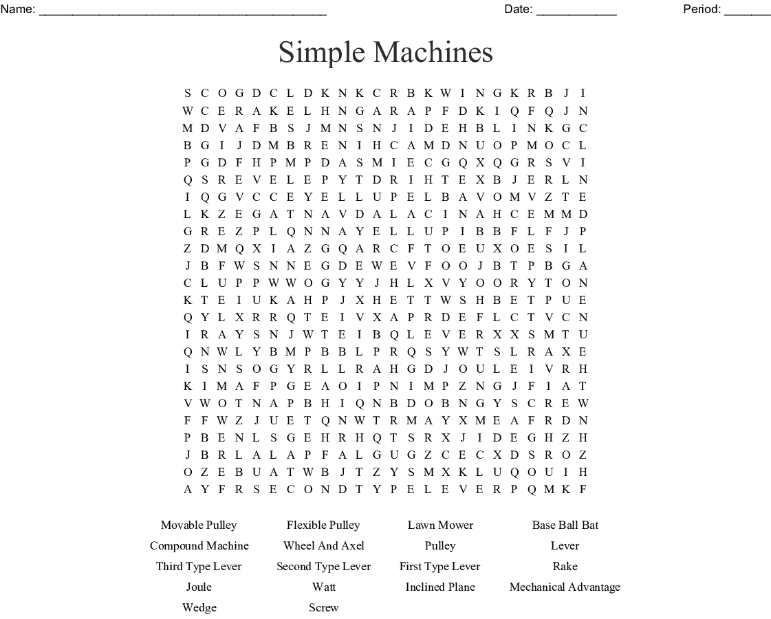 Work And Simple Machines Word Search