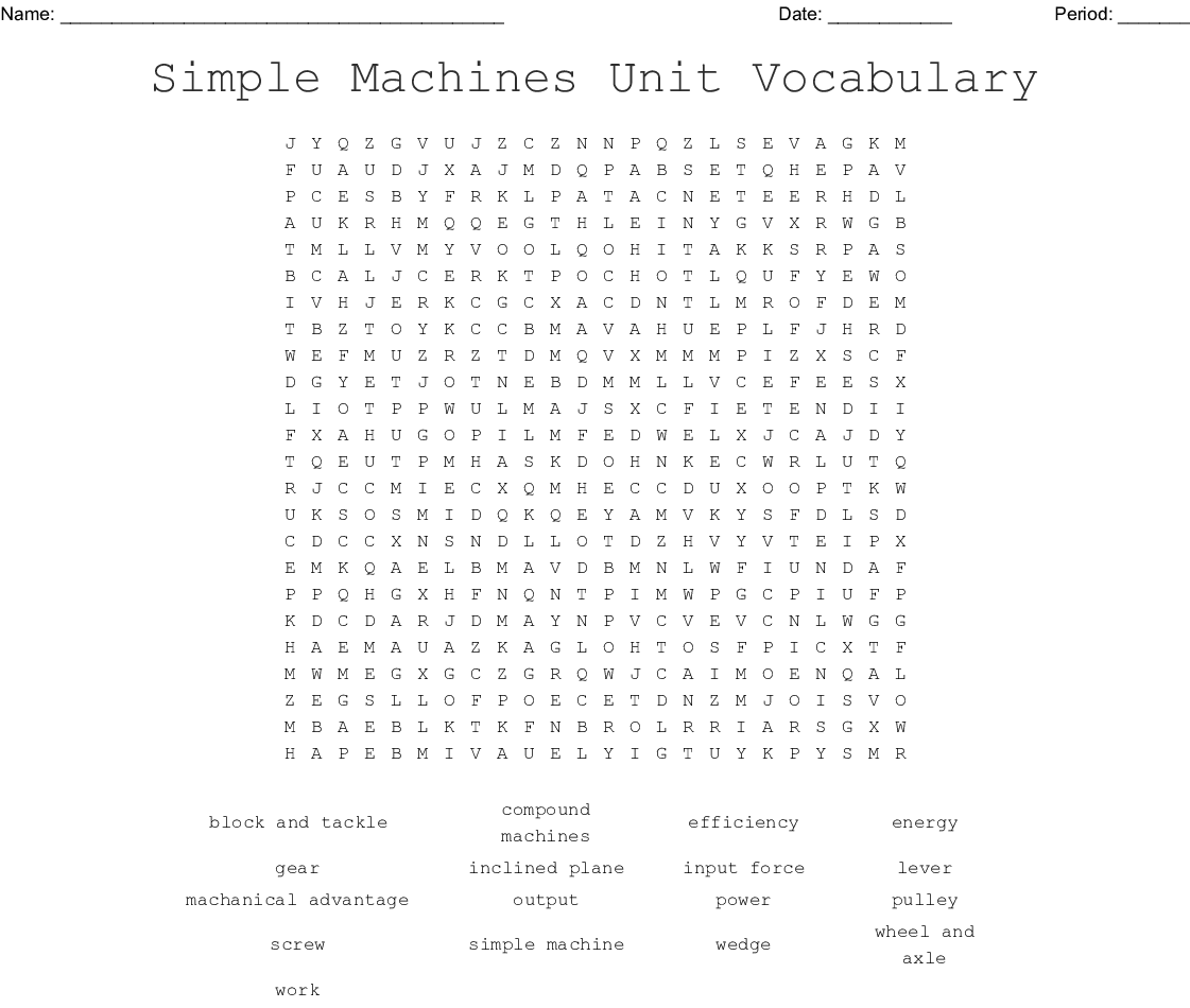 Simple Machines Unit Vocabulary Word Search