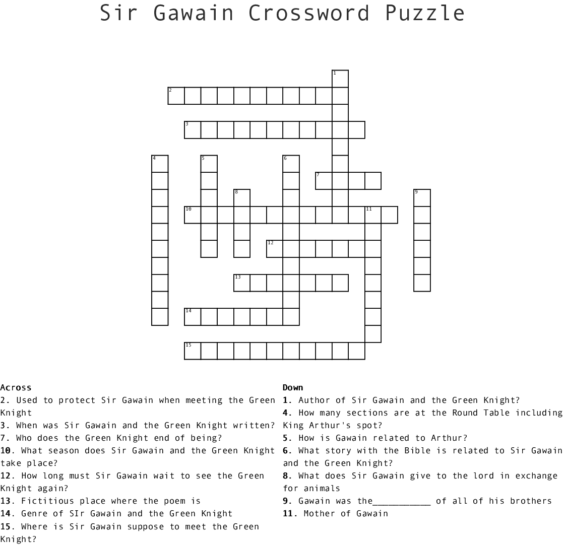 Sir Gawain Crossword Puzzle Crossword