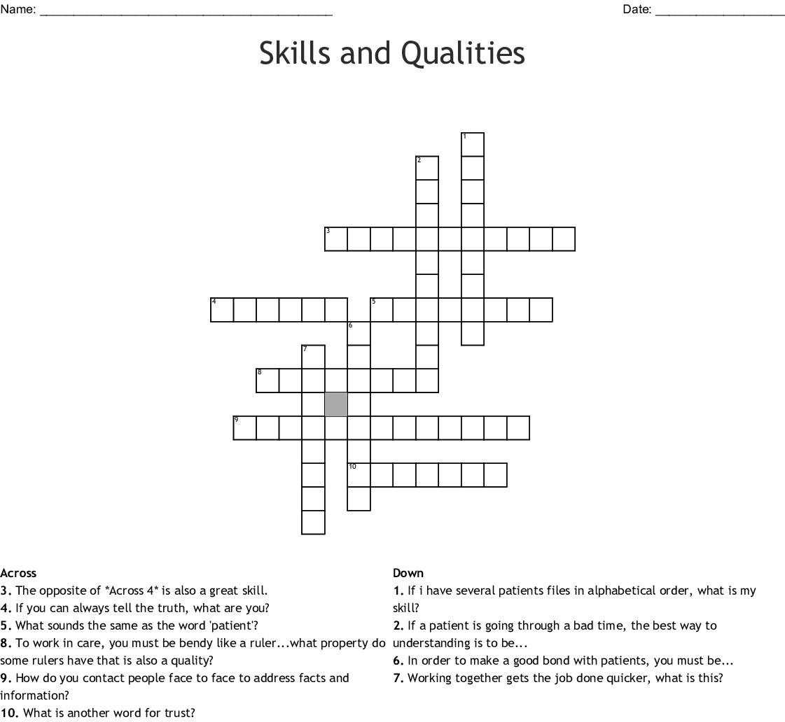 Skills And Qualities Crossword