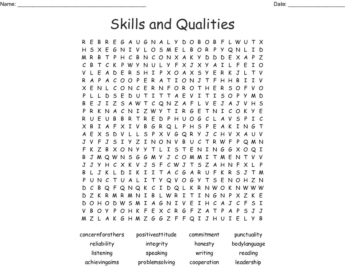 Skills And Qualities Word Search