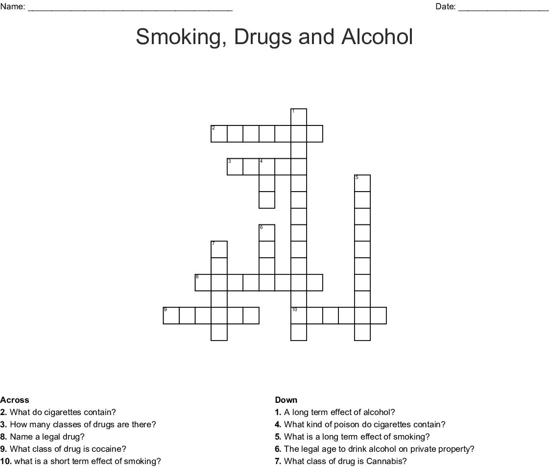 Smoking Drugs And Alcohol Crossword