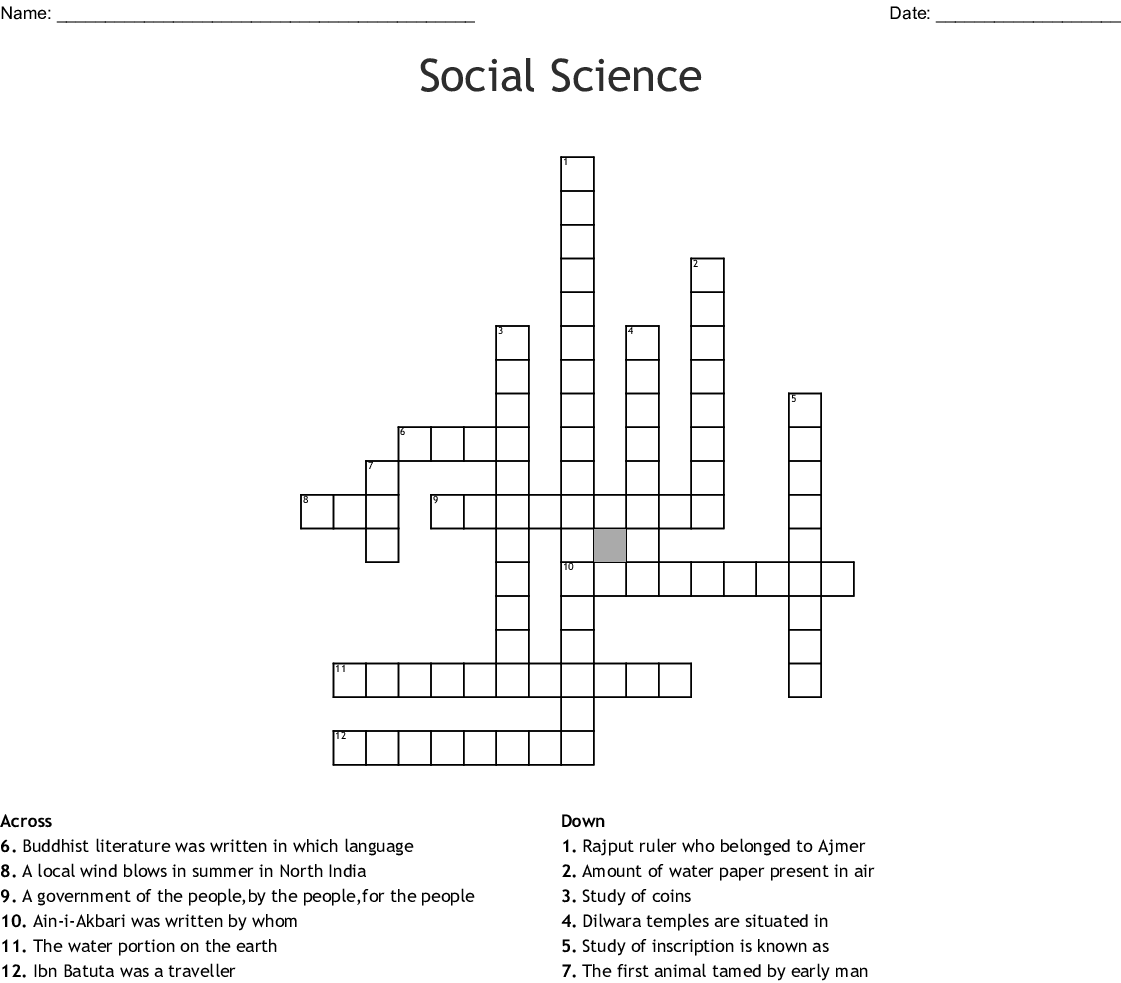 Social Science Crossword