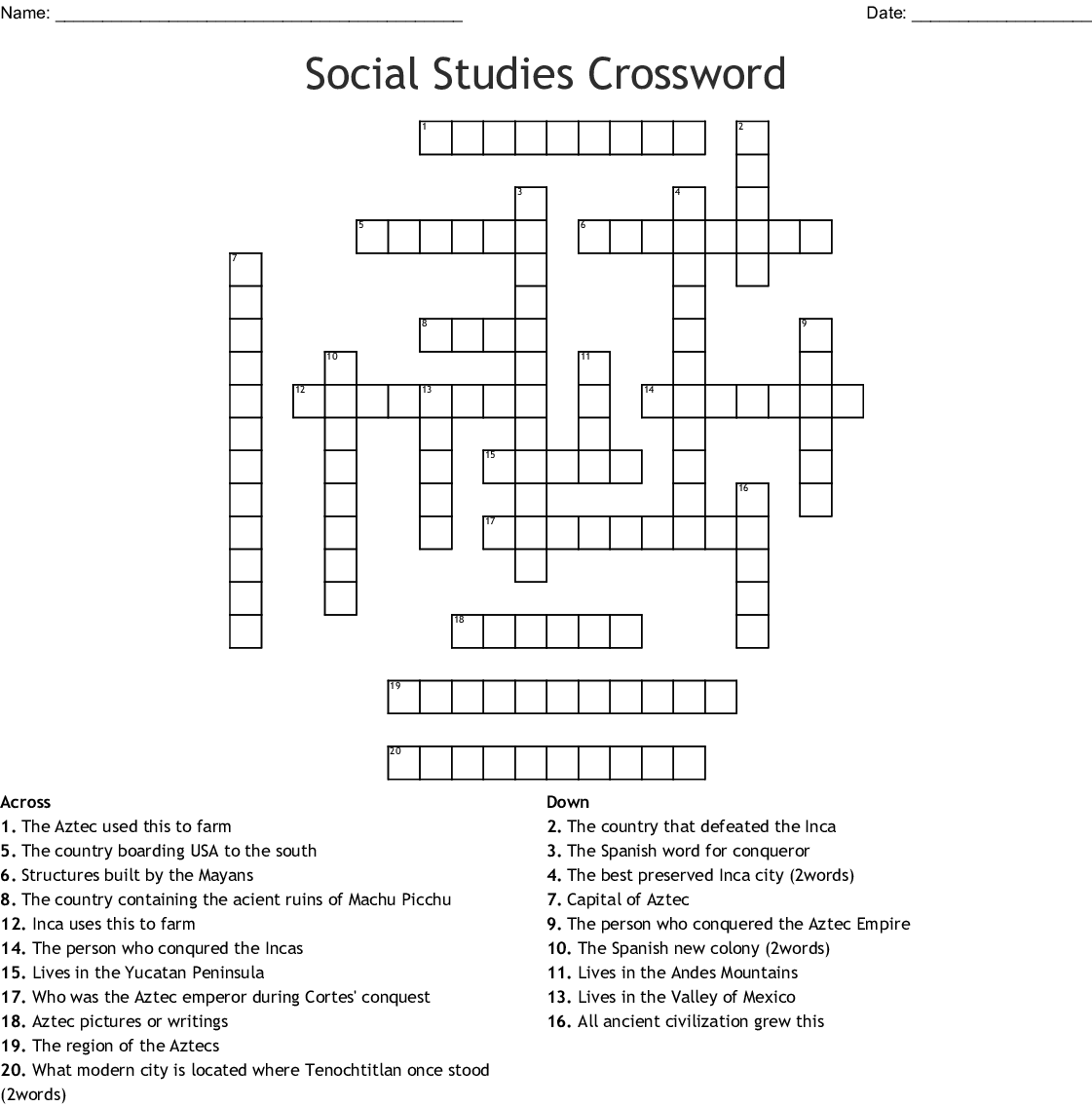 2 1 Spanish Colonization Amp New Spain Crossword