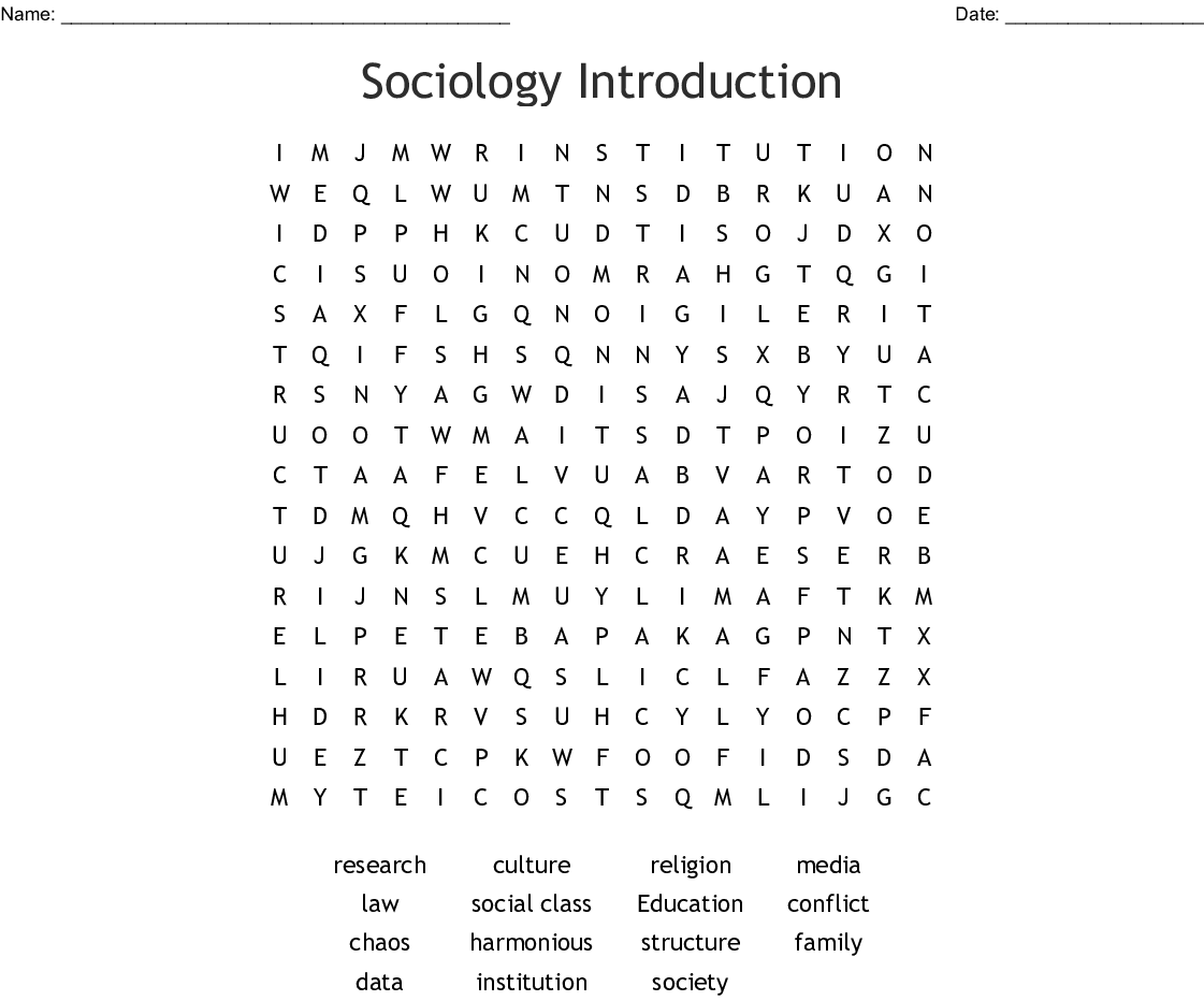 Sociology Introduction Word Search