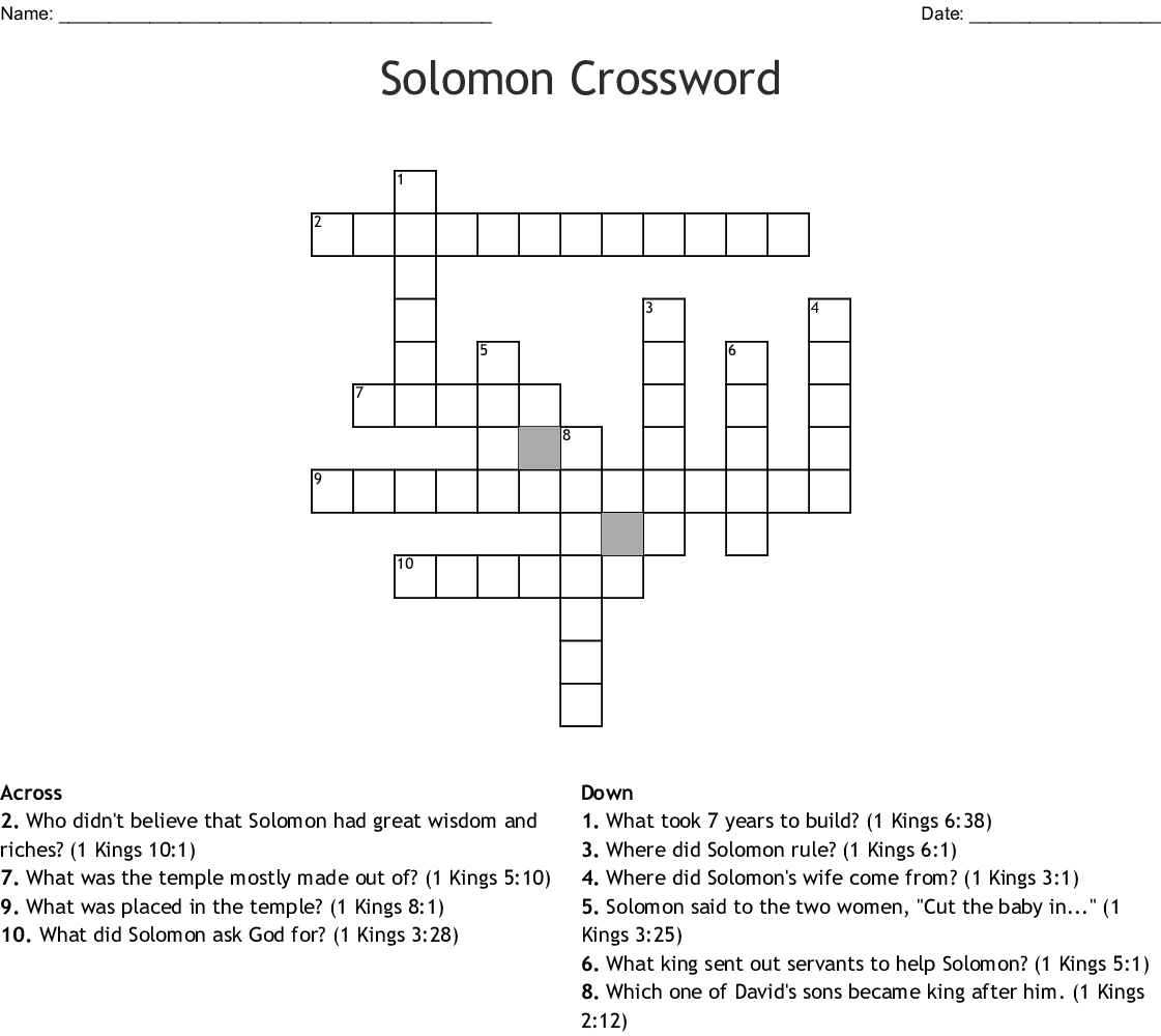 King Solomon Word Search