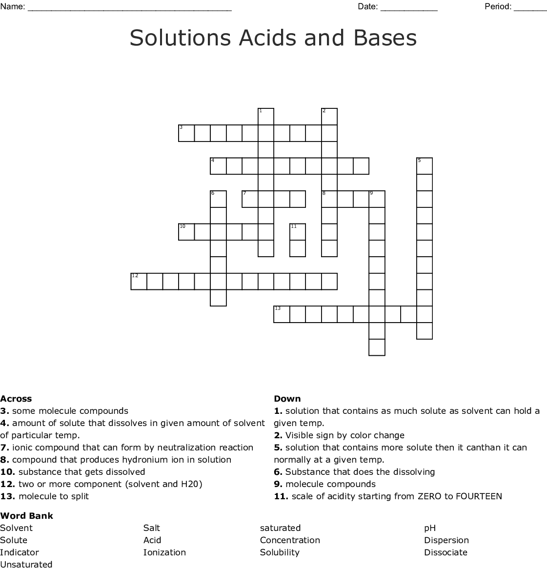 Acid And Bases Crossword