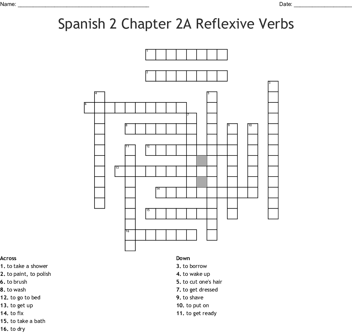 Spanish 2 Chapter 2a Reflexive Verbs Crossword