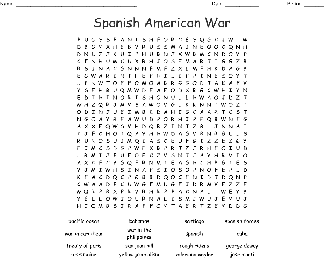 U S History Word Search