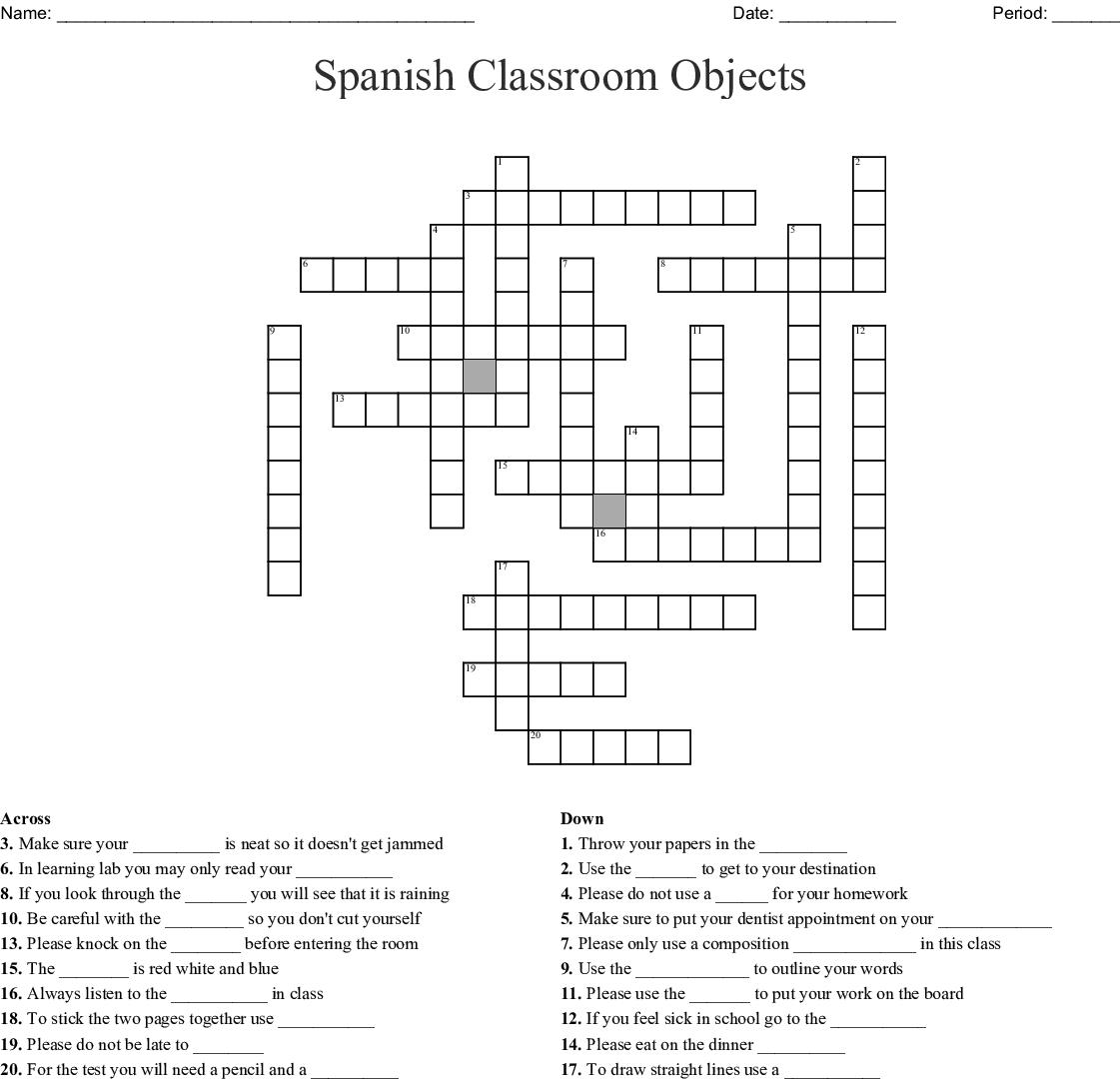 Spanish Classroom Objects Crossword