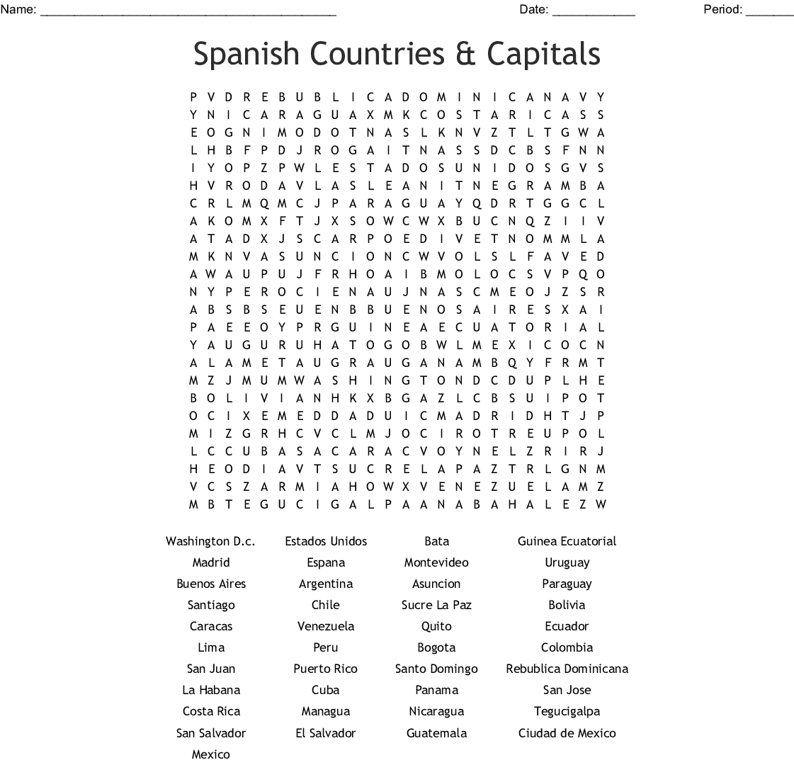 Spanish Countries Amp Capitals Word Search